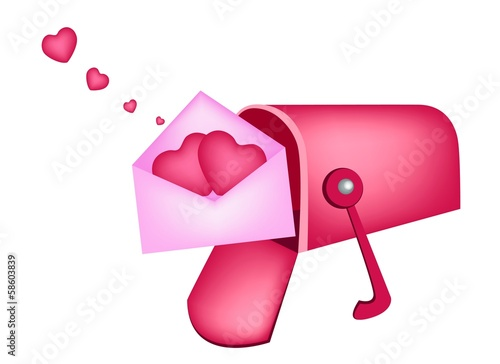 Love Letters in Mailbox Isolated on White Background