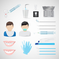 Dental Icons Set - Isolated On Gray Background