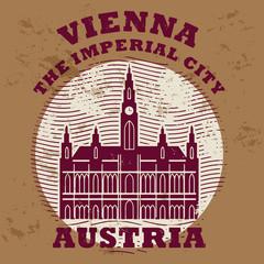 Grunge rubber stamp with words Vienna, Austria inside