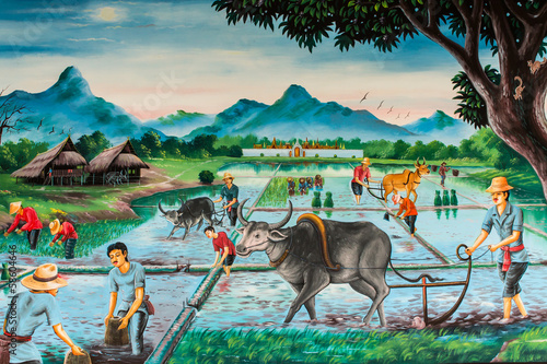 Thai farmer village, art on the wall
