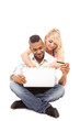 Couple is doing online shopping - Isolated