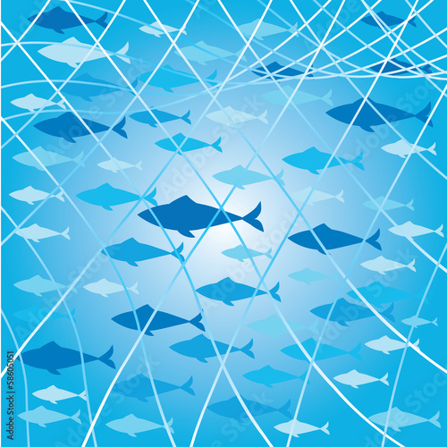 background with fishes and net