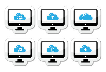 Computer and cloud vector icons set for web