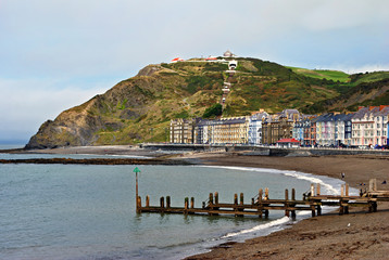 Colourful buildings by North Beach, Aberystwyth
