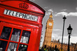 roleta: Red telephone booth and Big Ben in London, England, the UK