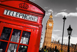 Fototapety Red telephone booth and Big Ben in London, England, the UK