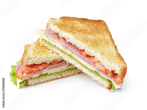 Keuken foto achterwand Snack toasted sandwich with ham, cheese and vegetables
