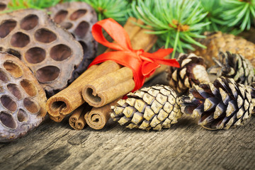 Cone with decorations,cinnamon and fir branches