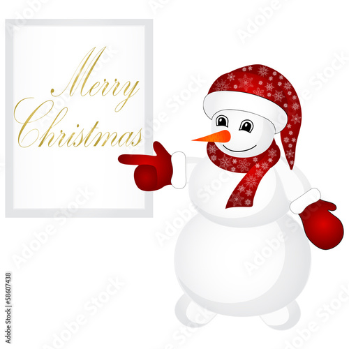 Snowman wearing santa hat isolated on the white background