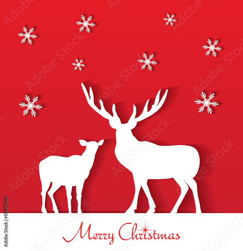 Stylish holiday paper reindeer design