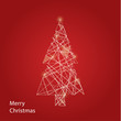 Vector line Christmas tree. Futuristic Christmas background with