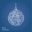 Vector outline Christmas tree. Modern Christmas background with