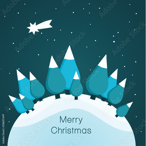 Vector Christmas landscape. Nice illustration for Christmas.