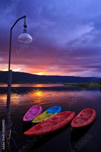 Kayaks in the sunset