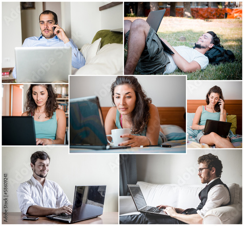 collage of people using notebook