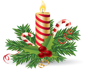 Advent candle with mistletoe and candy cane