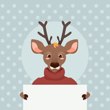 Reindeer with poster; christmas card