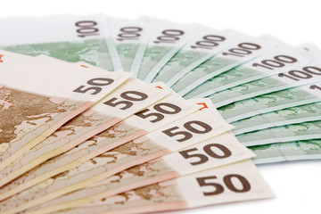 Banknotes of euro currency on white background