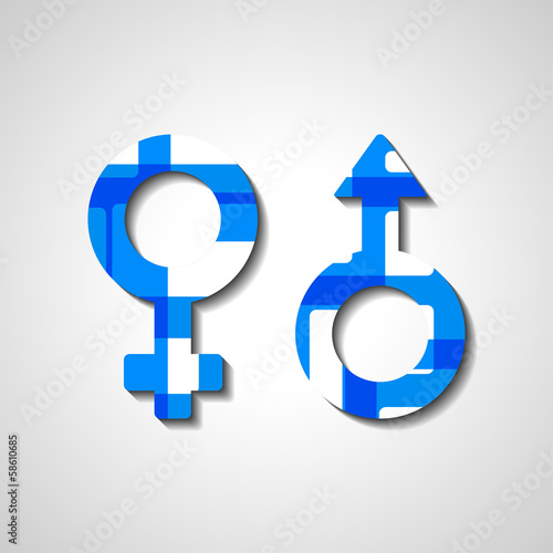Male and female gender symbols, style illustration