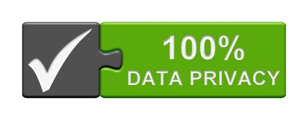 Puzzle-Button grau grün: 100% Data Privacy