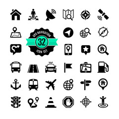 Web icon set. Location, navigation, transport, map