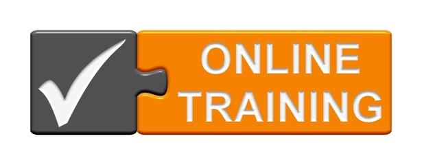 Puzzle-Button grau orange: Online Training