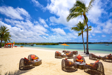Tropical relax on tropical sandy beach in Mauritius Island