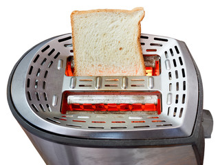 one fresh slice of bread on hot metal toaster