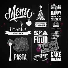 Vector set of design elements for the menu on the chalkboard