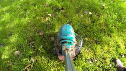 Lawn Mower - slow motion and close up