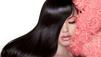 Hair Salon. Beauty Woman with Long Healthy and Shiny Smooth Blac