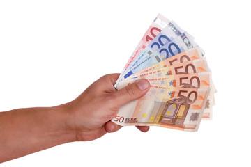 männliche Hand hält Geldfächer