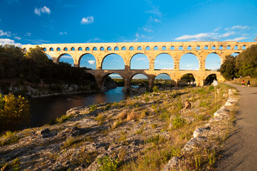 Pont du Gard view from tourist walking path