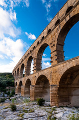 Pont du Gard close view of aqueduct vertical