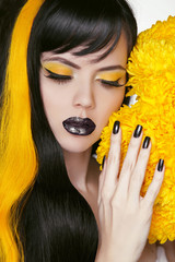 Punk Girl Portrait with Colorful Makeup, Long Hair, Nail polish.