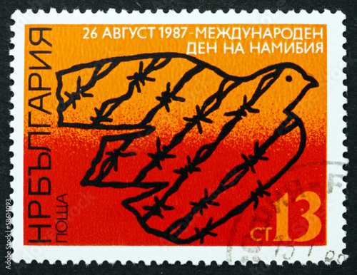Postage stamp Bulgaria 1987 Dove and Barbed Wire