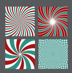 retro vintage hypnotic background set. vector illustration