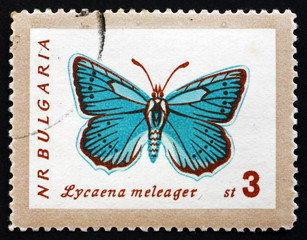 Postage stamp Bulgaria 1962 Meleager's Blue, Butterfly