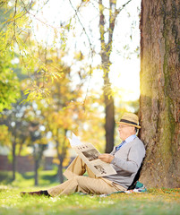 Gentleman on a grass reading a newspaper in a park