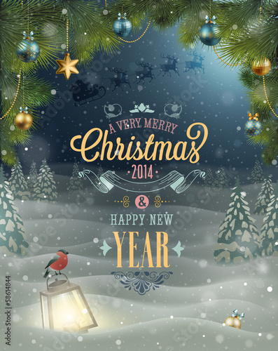 Christmas Poster. Vector illustration.