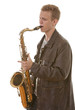 Young man playing saxophone