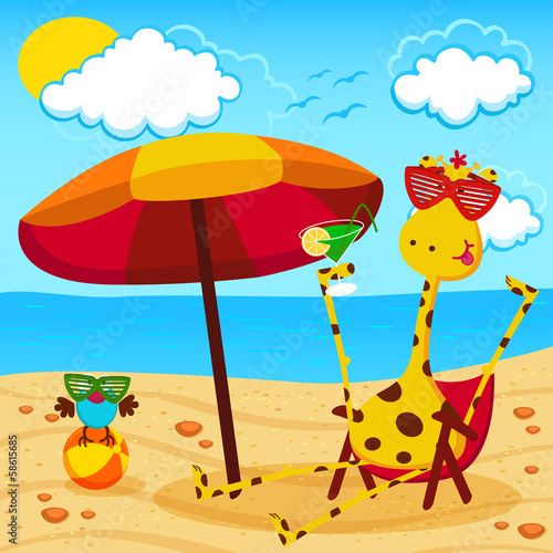 giraffe and a bird on the beach - vector illustration