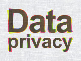 Safety concept: Data Privacy on fabric texture background