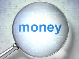 Finance concept: Money with optical glass