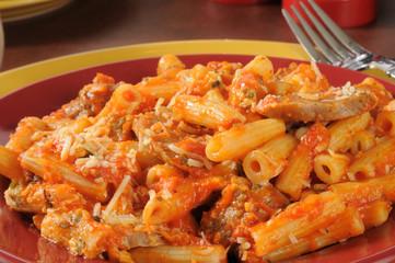 Italian sausage and meatballs on rigatoni
