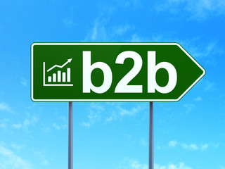 Finance concept: B2b and Growth Graph on road sign background