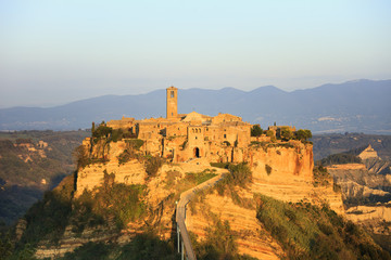 Civita di Bagnoregio, aerial view on sunset. Italy