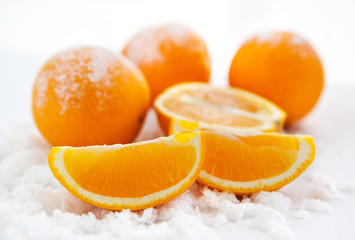 Oranges  on the snow