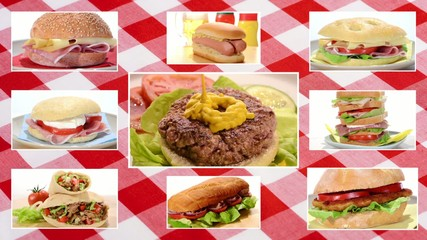 sandwiches collage on tablecloth background