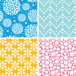 Vector set of Four vibrant abstract geometric patterns and